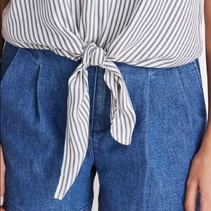 Madewell Tops - Madewell Petite Novel Tie-Front Top in Stripe